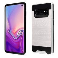 Brushed Coated Hybrid Armor Case for Samsung Galaxy S10 - Silver