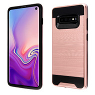 Brushed Coated Hybrid Armor Case for Samsung Galaxy S10 - Rose Gold