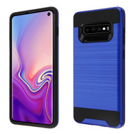 Brushed Coated Hybrid Armor Case for Samsung Galaxy S10 - Blue