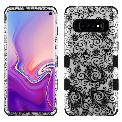 Military Grade Certified TUFF Hybrid Armor Case for Samsung Galaxy S10 - Four Leaves Clover Black