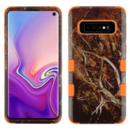 Military Grade Certified TUFF Hybrid Armor Case for Samsung Galaxy S10 - Tree Camouflage Orange