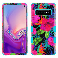 Military Grade Certified TUFF Hybrid Armor Case for Samsung Galaxy S10 - Electric Hibiscus