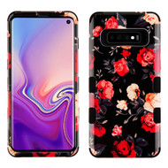 Military Grade Certified TUFF Hybrid Armor Case for Samsung Galaxy S10 - Red and White Roses