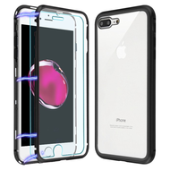 Magnetic Adsorption Hybrid Bumper Case with Front and Back Tempered Glass for iPhone 8 Plus / 7 Plus - Black