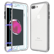 *SALE* Magnetic Adsorption Hybrid Bumper Case with Front and Back Tempered Glass for iPhone 8 Plus / 7 Plus - Silver