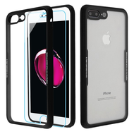 Reflex Hybrid Case with Front and Back Tempered Glass Protector for iPhone 8 Plus / 7 Plus - Black