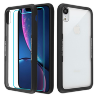Reflex Hybrid Case with Front and Back Tempered Glass Protector for iPhone XR - Black