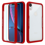*SALE* Reflex Hybrid Case with Front and Back Tempered Glass Protector for iPhone XR - Red
