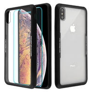 Reflex Hybrid Case with Front and Back Tempered Glass Protector for iPhone XS Max - Black