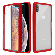 Reflex Hybrid Case with Front and Back Tempered Glass Protector for iPhone XS Max - Red