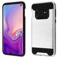Brushed Coated Hybrid Armor Case for Samsung Galaxy S10e - Silver