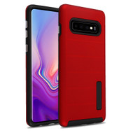 Haptic Dots Texture Anti-Slip Hybrid Armor Case for Samsung Galaxy S10 - Red