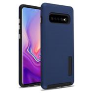 Haptic Dots Texture Anti-Slip Hybrid Armor Case for Samsung Galaxy S10 Plus - Navy Blue