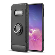 Carbon Edge Sports Hybrid Armor Case with Ring Holder for Samsung Galaxy S10e - Black