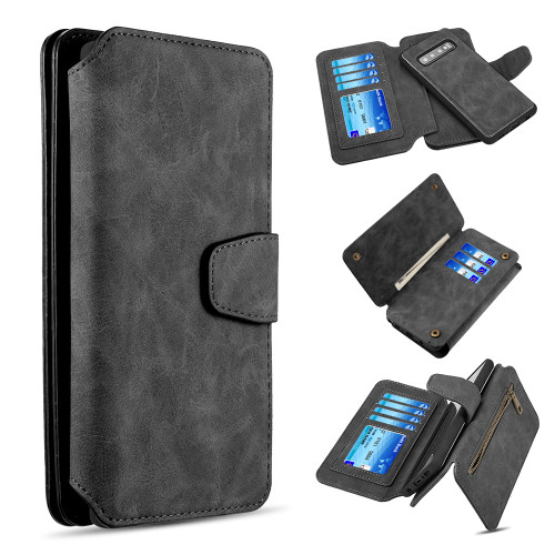 3-IN-1 Luxury Coach Series Leather Wallet with Detachable Magnetic Case for Samsung Galaxy S10 Plus - Black