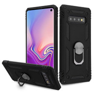 Armor Ring Finger Loop Hybrid Case for Samsung Galaxy S10 - Black