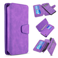 3-IN-1 Luxury Coach Series Leather Wallet with Detachable Magnetic Case for Samsung Galaxy S10 Plus - Purple