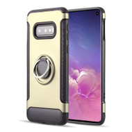 Carbon Edge Sports Hybrid Armor Case with Ring Holder for Samsung Galaxy S10e - Gold