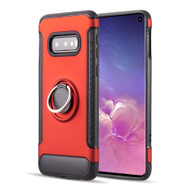 Carbon Edge Sports Hybrid Armor Case with Ring Holder for Samsung Galaxy S10e - Red