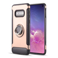 Carbon Edge Sports Hybrid Armor Case with Ring Holder for Samsung Galaxy S10e - Rose Gold