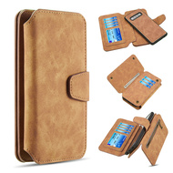 3-IN-1 Luxury Coach Series Leather Wallet with Detachable Magnetic Case for Samsung Galaxy S10 - Brown