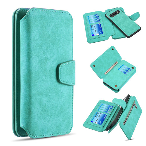 3-IN-1 Luxury Coach Series Leather Wallet with Detachable Magnetic Case for Samsung Galaxy S10 - Teal
