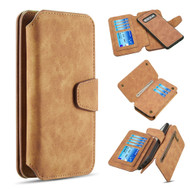 3-IN-1 Luxury Coach Series Leather Wallet with Detachable Magnetic Case for Samsung Galaxy S10 Plus - Brown