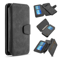 3-IN-1 Luxury Coach Series Leather Wallet with Detachable Magnetic Case for Samsung Galaxy S10e - Black