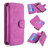 3-IN-1 Luxury Coach Series Leather Wallet with Detachable Magnetic Case for Samsung Galaxy S10e - Hot Pink