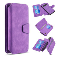 3-IN-1 Luxury Coach Series Leather Wallet with Detachable Magnetic Case for Samsung Galaxy S10e - Purple