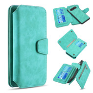 3-IN-1 Luxury Coach Series Leather Wallet with Detachable Magnetic Case for Samsung Galaxy S10e - Teal