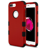 Military Grade Certified TUFF Fuse Hybrid Armor Case for iPhone 8 Plus / 7 Plus - Carbon Fiber Red