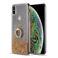 Quicksand Glitter Case with Smart Loop Ring Holder for iPhone XS Max - Gold
