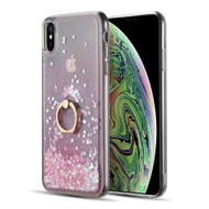 Quicksand Glitter Case with Smart Loop Ring Holder for iPhone XS Max - Pink