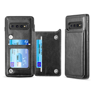 Smart Flip Slim Business Leather Case with ID Card Slots for Samsung Galaxy S10 Plus - Black