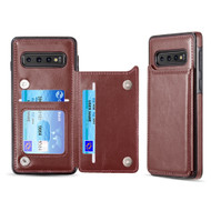 Smart Flip Slim Business Leather Case with ID Card Slots for Samsung Galaxy S10 Plus - Brown