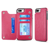 Smart Flip Slim Business Leather Case with ID Card Slots for iPhone 8 Plus / 7 Plus - Hot Pink
