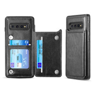 Smart Flip Slim Business Leather Case with ID Card Slots for Samsung Galaxy S10 - Black