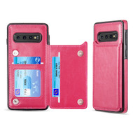 Smart Flip Slim Business Leather Case with ID Card Slots for Samsung Galaxy S10 - Hot Pink
