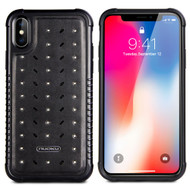 *Sale* Military Grade Certified Star Series Genuine Italian Leather Shockproof Hybrid Case for iPhone XS / X - Black