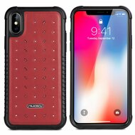 *Sale* Military Grade Certified Star Series Genuine Italian Leather Shockproof Hybrid Case for iPhone XS / X - Red