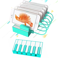 *FINAL SALE* Piano Keys Design 5 Port Charger Desktop Charging Station - Turquoise
