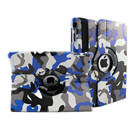 Smart Rotary Leather Case for iPad 2, iPad 3 and iPad 4th Generation - Camouflage Blue