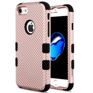 Military Grade Certified TUFF Fuse Hybrid Armor Case for iPhone 8 / 7 - Carbon Fiber Rose Gold