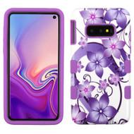 Military Grade Certified TUFF Hybrid Armor Case for Samsung Galaxy S10e - Purple Hibiscus Flower Romance