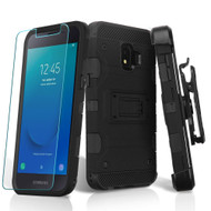 Military Grade Certified Storm Tank Hybrid Armor Case + Holster + Tempered Glass for Samsung Galaxy J2 / J2 Pure - Black