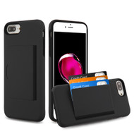Poket Credit Card Hybrid Armor Case for iPhone 8 Plus / 7 Plus / 6S Plus / 6 Plus - Black