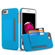 Poket Credit Card Hybrid Armor Case for iPhone 8 Plus / 7 Plus / 6S Plus / 6 Plus - Blue