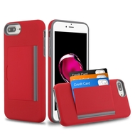 Poket Credit Card Hybrid Armor Case for iPhone 8 Plus / 7 Plus / 6S Plus / 6 Plus - Red
