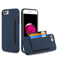 Poket Credit Card Hybrid Armor Case for iPhone 8 Plus / 7 Plus / 6S Plus / 6 Plus - Navy Blue